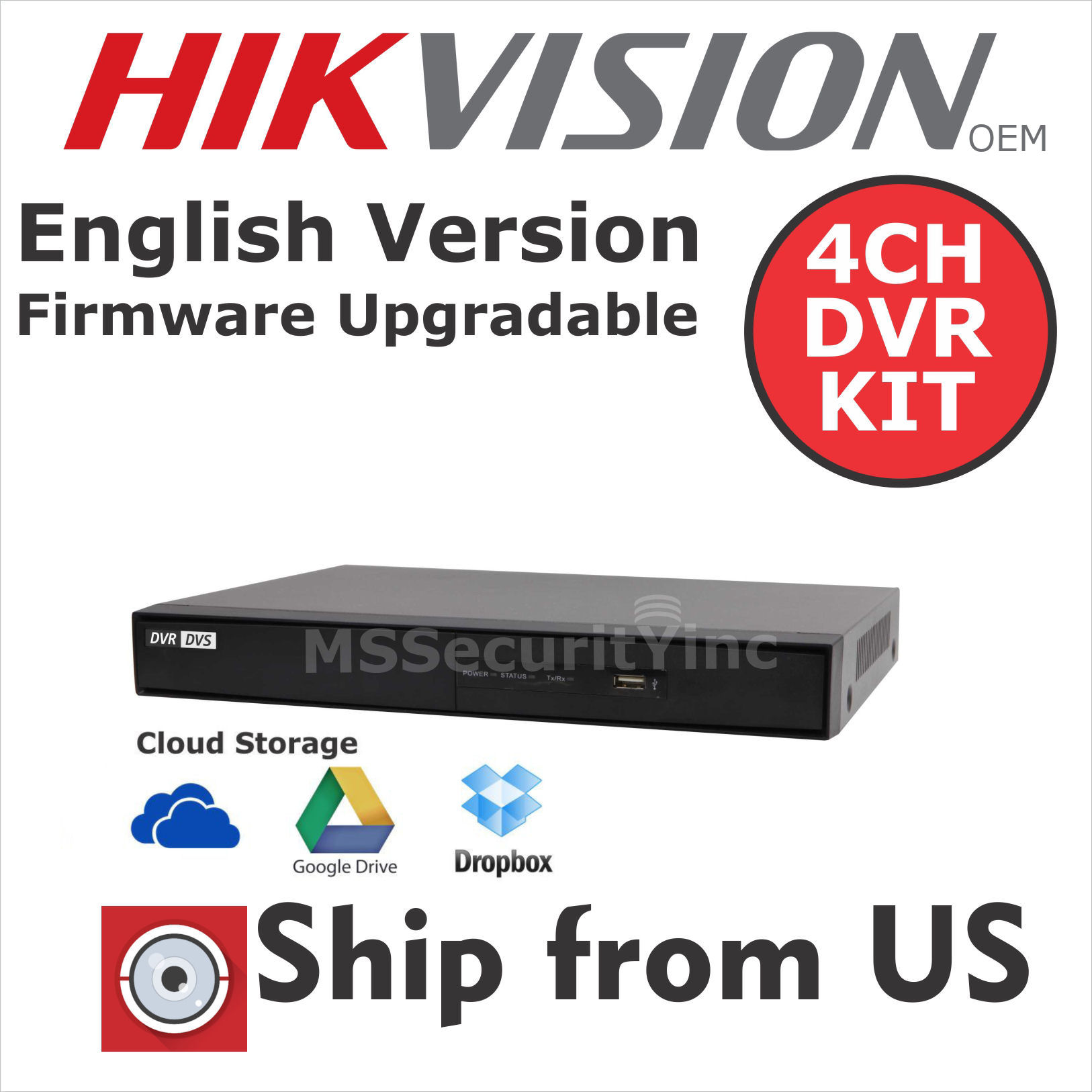 KIT 4CH HD 1080p 2MP OUTDOOR CAMERA DVR HIKVISION OEM