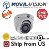 5MP TVI Turret Camera 2.8mm Lens EXIR 20M IR Movil-Vision UL LISTED