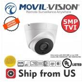 5MP TVI Dome Camera 2.8mm Lens EXIR 40M IR Movil-Vision UL LISTED