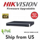 8CH NVR  DS-7608NI-K2/8P 4K 8MP 8-PoE 2-SATA Hikvision OEM  MS-8808NI-K2/8P UL LISTED