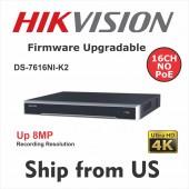 16CH NVR DS-7616NI-K2 4K 8MP 2-SATA No POE Hikvision OEM MS-8816NI-K2 UL LISTED