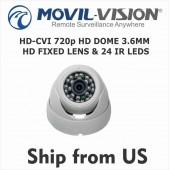 HD-CVI 720p HD DOME 3.6MM IP66 FIXED LENS & 24 IR LEDS 70Ft  CVI1472W
