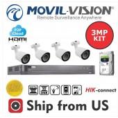 Kit 8CH DVR 5MP, 4 Camera 3MP Lens 2.8mm,1TB HDD MOVIL-VISION