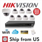 8CH NVR Kit Wireless or Wired HD 1080P 2 MP IP Dome Camera Hikivison OEM NOHDD