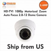 HD-TVI 2.4MP Motorized Zoom Auto Focus 2.8-12mm Dome Camera SONY IMX322 WDR 7072