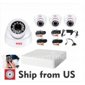 DVR KIT 5CH HD 1080P 4pcs Indoor DOME 2.8MM 4x66ft Cable 1xPS 3A 1x SP 1-4 NOHDD