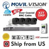 Kit 8CH DVR 5MP, 4 Camera 5MP Lens 2.8mm, 1TB HDD MOVIL-VISION